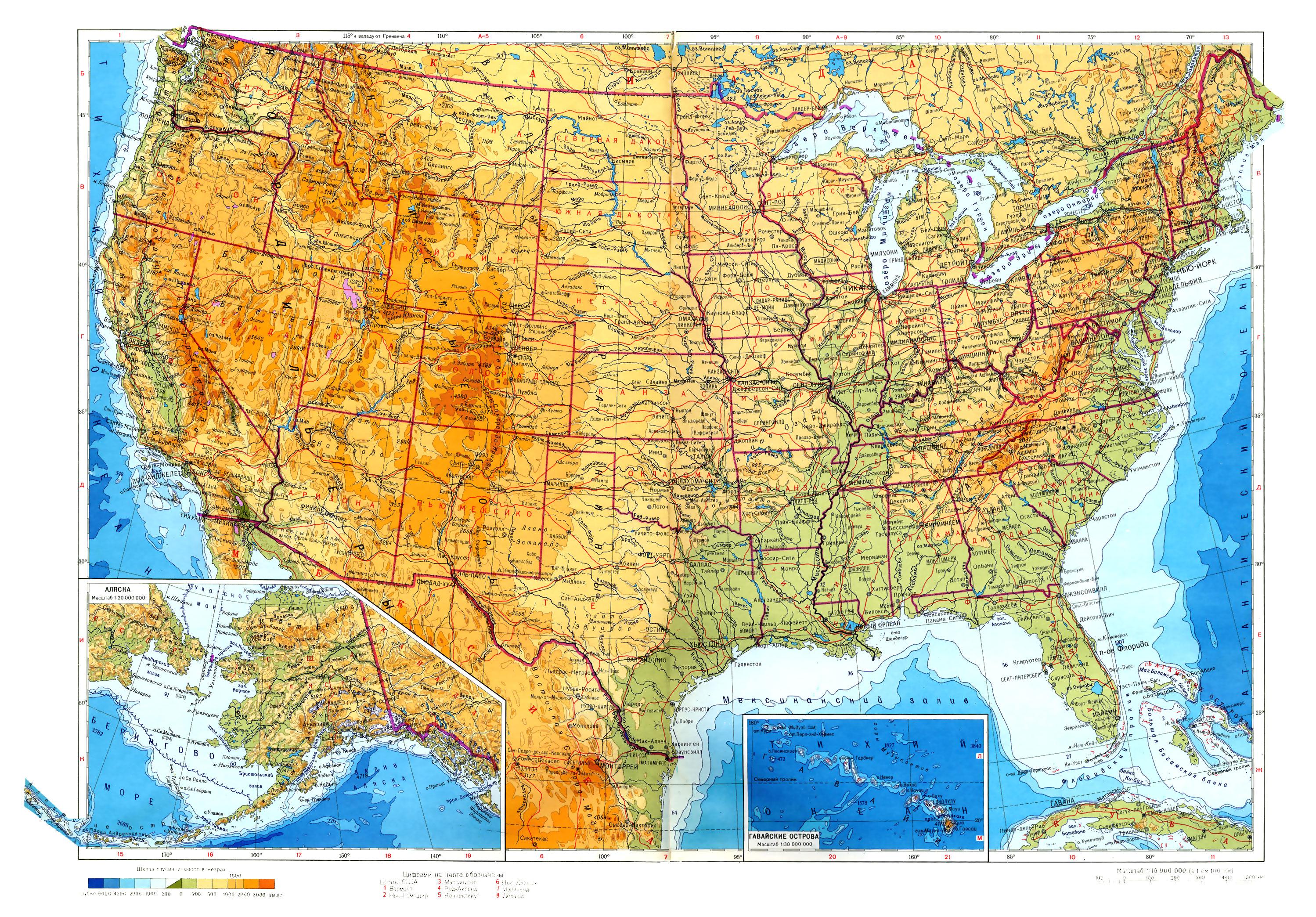 Карта соединенные штаты америки